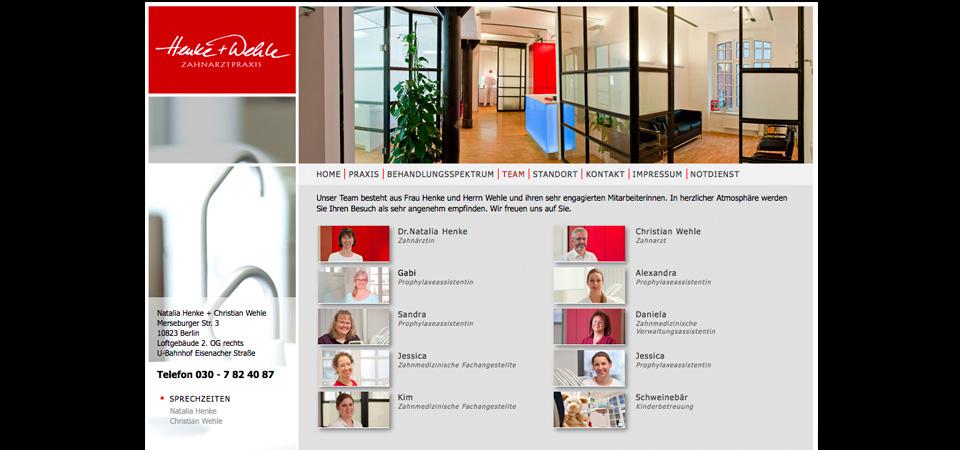 Screeshot der Webseite Henke & Wehle